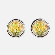 Watercolor Daffodils Yellow Spring Round Cufflinks