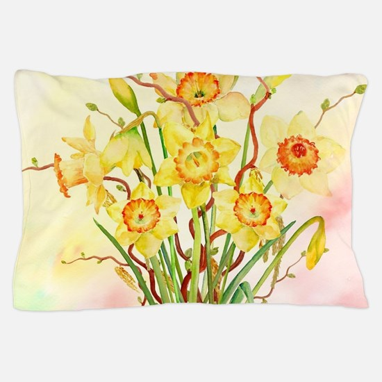 Watercolor Daffodils Yellow Spring Flo Pillow Case