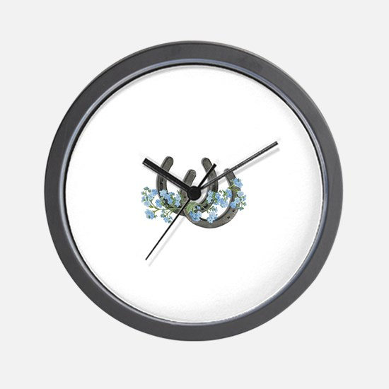 Forget me not horseshoes Wall Clock