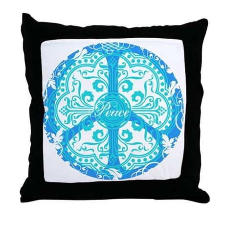 funky peace sign Throw Pillow