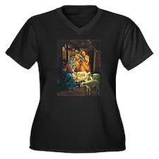 Vintage Christmas Nativity Plus Size T-Shirt