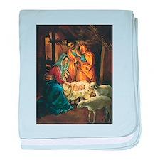 Vintage Christmas Nativity baby blanket