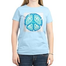 Blue Funky Peace Sign T-Shirt