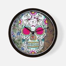 Tea Cup Sugar Skull Wall Clock