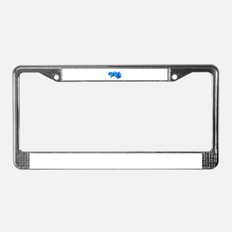 Ice blue orchids License Plate Frame