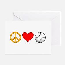 Peace Love Baseball Greeting Cards (Pk of 10)
