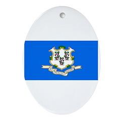 Connecticut Blank Flag Oval Ornament