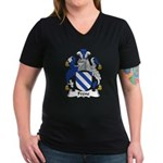 Frene Family Crest Women's V-Neck Dark T-Shirt