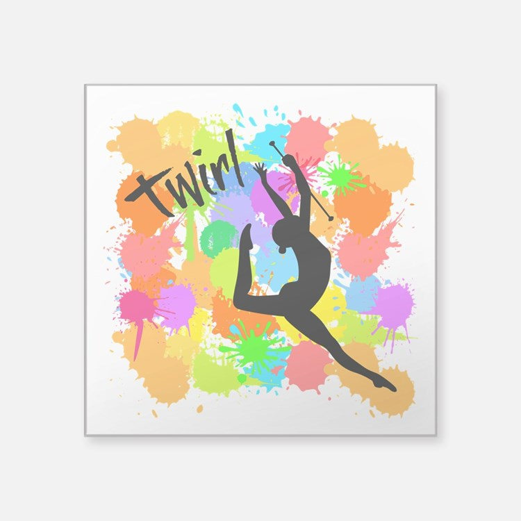 "SPLATTER TWIRL Square Sticker 3"" x 3"""
