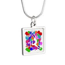 SPLATTER TWIRL Silver Square Necklace