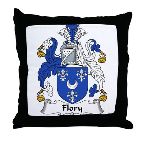 Flory Family Crest Throw Pillow