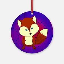 Red Fox on Purple Ornament (Round)