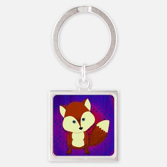 Red Fox on Purple Keychains