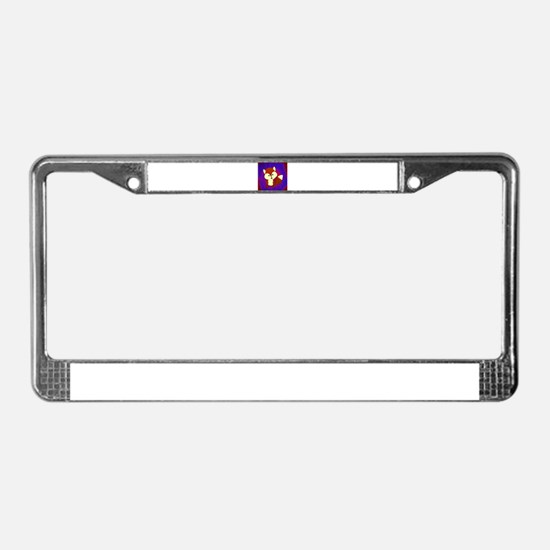 Red Fox on Purple License Plate Frame