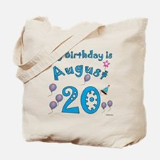 August 20th Birthday Tote Bag