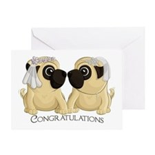 Pug Brides Congrats Greeting Cards