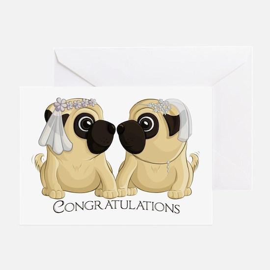 Pug Brides Congrats Greeting Cards