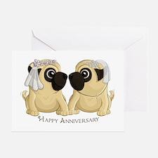 Pug Brides Anniversary Greeting Cards