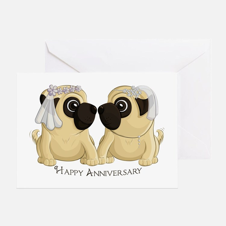 Pug Brides Anniversary Greeting Cards