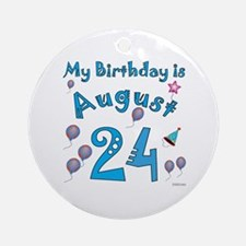 August 24th Birthday Ornament (Round)