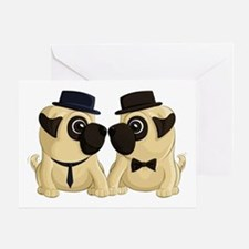 Groom Pugs Greeting Cards