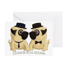 Congrats Groom Pugs Greeting Cards