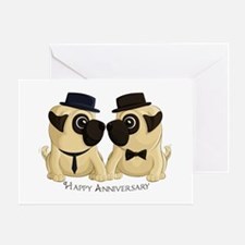 Anniversary Groom Pugs Greeting Cards