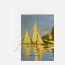 Claude Monet Regatta at Argenteuil Greeting Cards