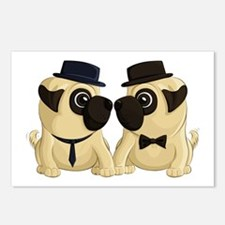 Groom Pugs Postcards (Package of 8)