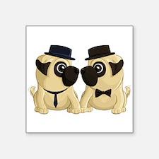 "Groom Pugs Square Sticker 3"" X 3"""
