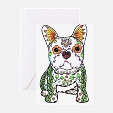Sugar Skull Frenchie Greeting Cards