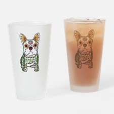 Sugar Skull Frenchie Drinking Glass