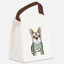 Sugar Skull Frenchie Canvas Lunch Bag