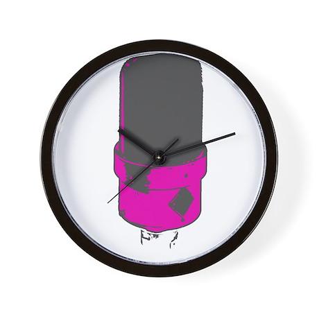 Vintage Microphone (Grey/Pink) Wall Clock