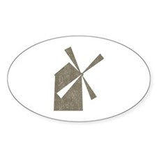 Vintage Windmill Oval Decal
