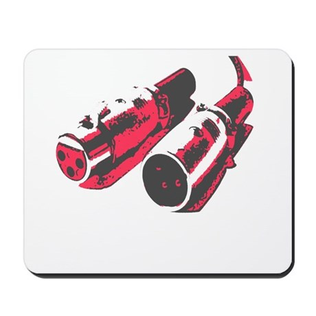Grey/Red Mousepad