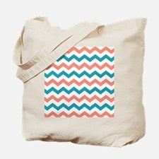 Teal and Coral Chevron Pattern Tote Bag