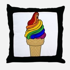 Rainbow Swirl Ice Cream Throw Pillow