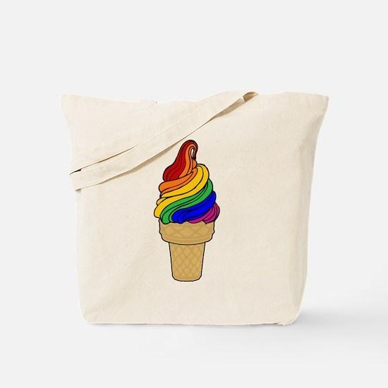 Rainbow Swirl Ice Cream Tote Bag