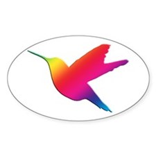 Rainbow Hummingbird Oval Decal