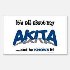 All About My Akita (He) Rectangle Decal