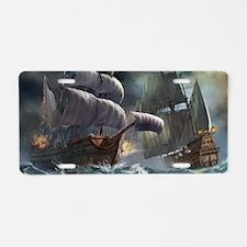 Battle Between Ships Aluminum License Plate