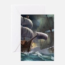 Battle Between Ships Greeting Cards