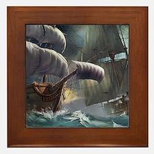 Battle Between Ships Framed Tile