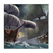 Battle Between Ships Tile Coaster