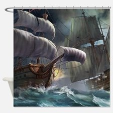 Battle Between Ships Shower Curtain