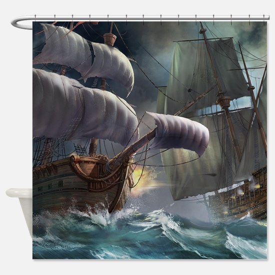 Battle Between Ships Shower Curtain