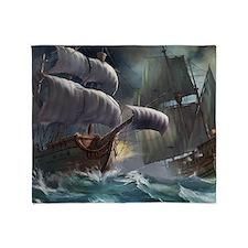 Battle Between Ships Throw Blanket