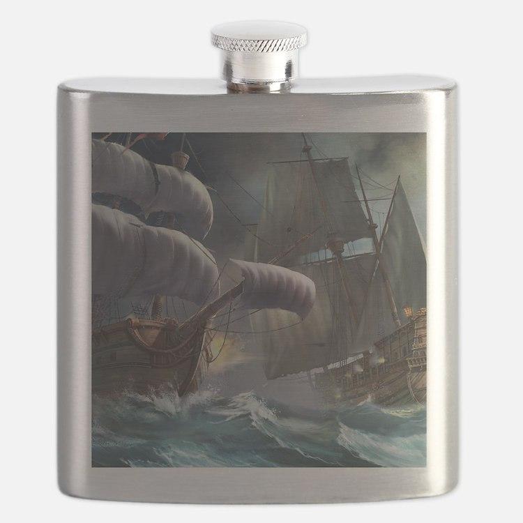 Battle Between Ships Flask