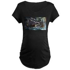 Battle Between Ships Maternity T-Shirt